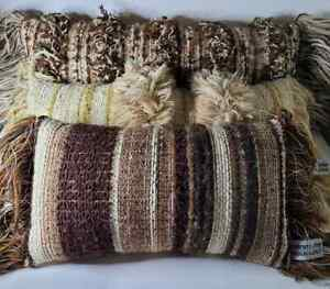 Vtg Mid Century Hand Woven Wool Fiber Wall Art Sculptural Robert Kidd Pillow Lot