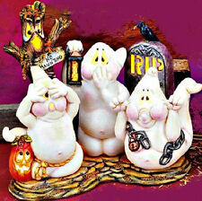 Ceramic Bisque Ready to Paint Hear,Speak, See no Evil Ghost Scene with light kit