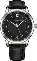 STUHRLING MEN'S CLASSIQUE 40MM BLACK STEEL CASE SWISS QUARTZ WATCH 572.02
