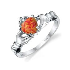 Celtic 0.4ct 7mm Stunning Fire Opal Ring Pure Sterling Silver Size 9 Gift