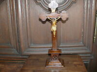 Rarität ca. 100 Jahre altes Holz Kreuz Standkreuz massiv Eichenholz verziert