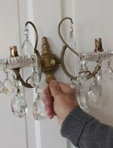 4 Vintage Glass Crystal Wall Lights