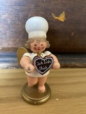 Tiny Erzgebirge Angel With Chef's Hat And I love you cookie