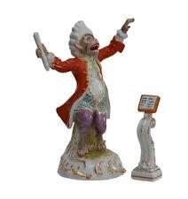 Skulptur Porzellan Affe Dirigent mit Notenpult Orchester