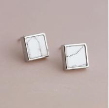 Sterling Silver Square Howlite Stud Earrings Art Deco Geometric Natural White