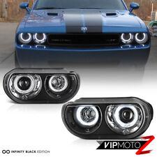 """[FOR HALOGEN MODEL] For 08-14 Dodge Challenger """"CCFL ANGEL EYE"""" Black Headlight"""