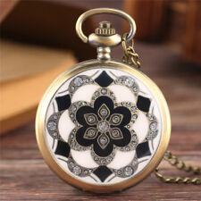 Antique Crystal Flower Women Quartz Pocket Watch Necklace Pendant 80cm Chain