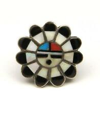 Vintage Zuni Sun-Face Inlay Ring Sterling Silver Turquoise Onyx Coral MOP Sz 6