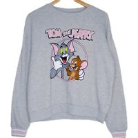 Tom & Jerry Womens Crewneck Sweater Size Large Grey 80 Years