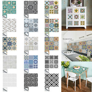 10-100Pcs Moroccan Kitchen Wall Stickers Self-adhesive Bathroom Tile Stickers AU