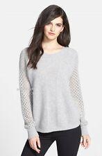 NEW CHELSEA28 Contour Rib Alpaca Blend Sweater Heather Grey Size L