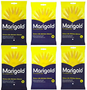 6 Pairs Marigold Extra Life Layered Rubber Gloves Small Medium Large Size