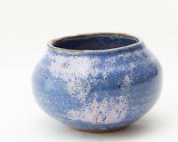 Signed Studio Art Bowl Vase Hand Made Stoneware Pottery Blue Glazed