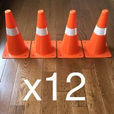 12 Orange Safety Cones Reflective Traffic Sports Indoor Outdoor Day & Night Lot