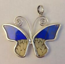 Peruvian Sterling Silver Real Butterfly Wing incased in glass Handmade Pendant