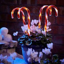 4 x 25cm LED Light Up Candy Cane Christmas Xmas Stick Light Outdoor Red & White