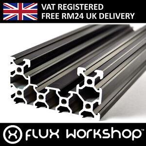 Black Aluminium C Form Extrusion 4080 T Slot Frame CNC 3D Printer Flux Workshop