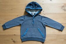 Boys TU Hooded Jumper/Top. 100% Cotton. Nautical Stripes. Age 12-18 Months
