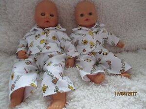 Handmade Pyjamas for Annabell/Baby Doll Supersoft Fabric- 2pce set -White Jungle