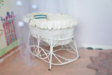 Vintage Lined White Wicker Bassinet with Wheels, Mattress and Sheets.