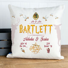 Personalised HARRY Wizard Wedding Cushion Gift Anniversary Mr & Mrs KC89