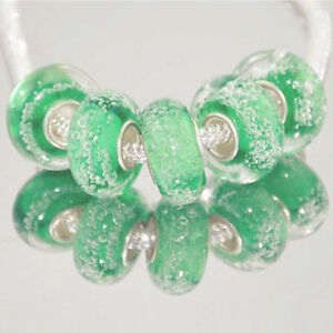 5 x Light Green Abstract Bubbles Glass Bracelet Spacer Threader Charm Beads 2173