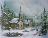 Winter Church Old Village Scene by William Chandler 10 X 8 PRINT
