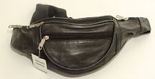 New Black Full  Soft Leather Extra Strong Bumbag/Bum Bag Zipped Pockets