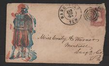 $Union Patriotic cover red+blue soldier printing error Nashville Jan. 28, 1864