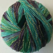 Trendsetter Yarns PEPITA #935 Bluegrass Blue Green Purple Gold Ribbon Yarn Skein