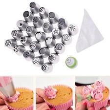 46 Pcs Russian Tulip Icing Piping Nozzle Set Cake Cupcake Decoration Tips w/ Bag