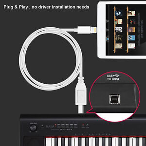 USB 2.0 to Type-B MIDI Keyboard Converter Cable For iPad iPhone 8 Xs