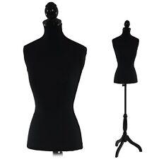 Mannequin de couture buste femme en fibres de polyester avec trépied - noir