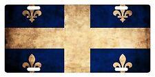 Quebec Canada Flag Custom License Plate Fleur-de-lis Emblem Dirty Version