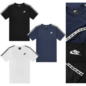 Men's Nike Repeat Taped T Shirt Tee Crew Neck Cotton Black Navy White AR4915