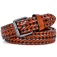 JASGOOD Men's Leather Braided Belt No Hole Cowhide Leather Woven Belt for Jeans