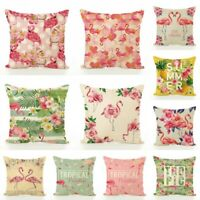 Flamingo Tropical plant Pillow Case Cotton Sofa Cushion Cover Car Decorative UK