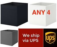 Set of ANY 4 IKEA DRONA Storage Boxes For Kallax | Black, White or Grey Free UPS
