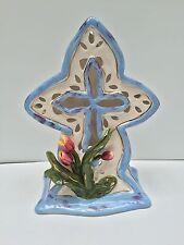 "Blue Sky Clayworks Heather Goldminc Cross w/Flowers 11"" Tea Lite 2003"