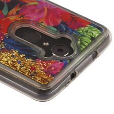For ZTE MAX XL N9560 Hibiscus Flower Gold Glitter Hybrid Liquid Water Case Cover
