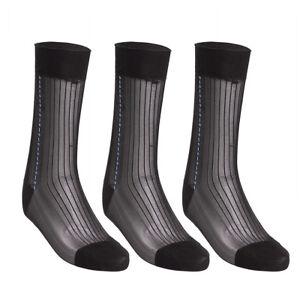 3 Pairs Men's Sheer Silk Jacquard Over the Calf Striped Business Thin Socks