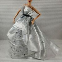 EVENING C ~ BARBIE DOLL MODEL MUSE 60TH ANNIVERSARY WHITE SILVER GOWN DRESS