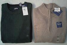 2 Men's sweaters   CHAPS/CROFT & BARROW  Size XXL  NWT   Green/Tan-light brown