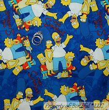 BonEful Fabric FQ Cotton Quilt Blue Red Simpsons TV Bart Family Cartoon Comic US