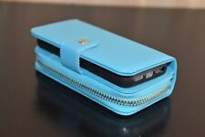 Magnetic Detachable Zipper PU Leather Wallet Case with Strap for iPhone 5S/SE