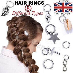 5 Punk Women Fashion Hip Hop Braid Hand Silver Shell Star Cross Ring Hair Clips