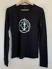 Monster Energy Anchor Logo Top Long Sleeve Black Waffle Pattern Cotton Sz L NEW