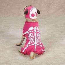 Dog Costume GLOW BONES Glow in Dark Soft Comfortable Cotton Halloween HOT PINK