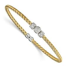 18k Gold Sterling Silver White Sapphire Halo Round Cable Cuff Bangle Bracelet