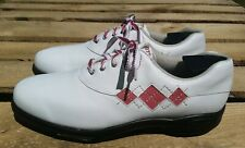 FootJoy EComfort 98508 Wht/Pink Leather Argyle Lace-Up Golf Oxford Womens US 10M